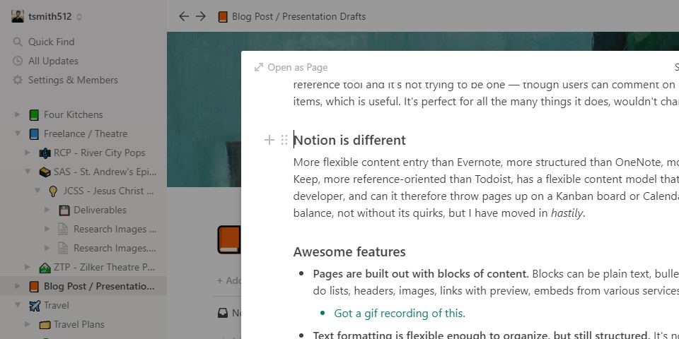 A blog post draft in Notion